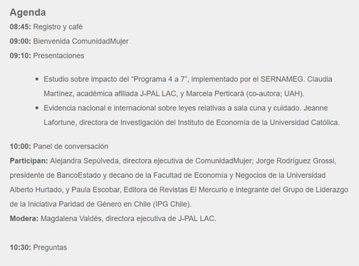 ComunidadMujer agenda-jpal-e1497897620132 Género y educación Institucionales Mujer y trabajo Noticias