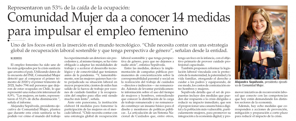 ComunidadMujer 21.07.2021_ComunidadMujer-propone-14-medidas-para-contrarrestar-nota-elmer Mujer y trabajo Noticias Noticias destacadas
